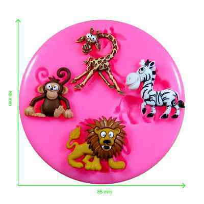 Zoo Safari Animals Lion Zebra Monkey Giraffe Silicone Mould by Fairie Blessings