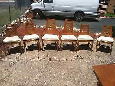 Mid Century Modern Dining Table 6 Cat Eye Ladder back chairs and China Buffet