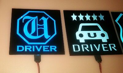YOUR CUSTOM LightUp-Glowing-illuminated-led car Sign rideshare/taxi drivers