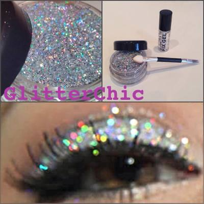 Glitter Eye Shadow Chunky Holographic Silver LARGE 10g+ Fix Gel  Glitter Eyes
