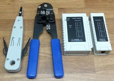 Network Toolkit With Rj45 Crimper, Cable Tester And Idc Punch Tool