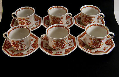 Lot of 6 Royal Staffordshire Cups&Saucers J & G Meakin Old Pekin  Ironstone