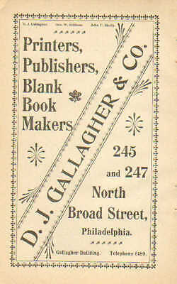 Philadelphia, PA. D.J. Gallagher & Co. Printer, Publisher 1898 Antique Print Ad.