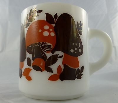 Vintage Merry Mushroom Retro Milk Glass Cups Mugs Autumn Colors Brown Orange