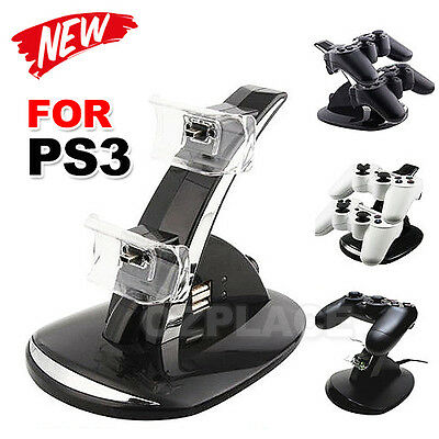 Premium Hot Dual Blue LED Dock Charging Station For Sony PS3 Controller Charger