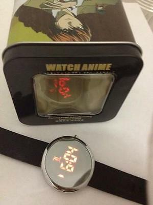 "Death Note Anime -  ""L"" Logo Red LED Round Watch Rare"