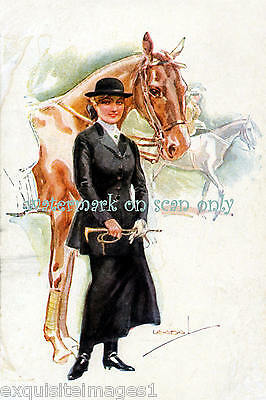 Antique Art Deco~Usabal~Pretty Woman in Black~Riding CropHorse~NEW Lg Note Cards