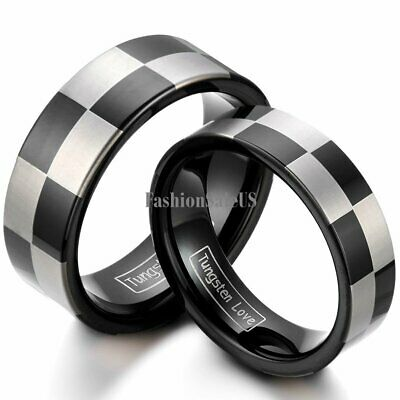 8mm/6mm Tungsten Carbide Checker Pattern Men's Women's Band Rings Laser Etched