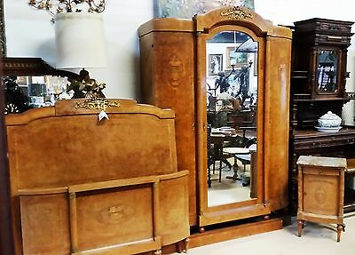 Antique Art Deco French Armoire, Bed 2 pc suite