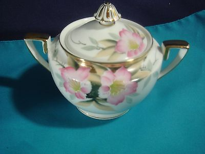 Antique Noritake Azalea patterned  hand-painted sugar bowl with lid