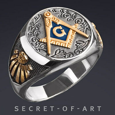 MASONIC RING SILVER 925 STERLING with 24K-GOLD-PLATED PARTS, VINTAGE STYLE