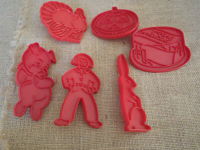 Lot of 6 Vintage Tupperware Red Holiday Cookie Cutters - Made in U.S.A.