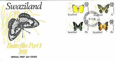 Swaziland 1982 Butterflies set on unaddressed official first day cover