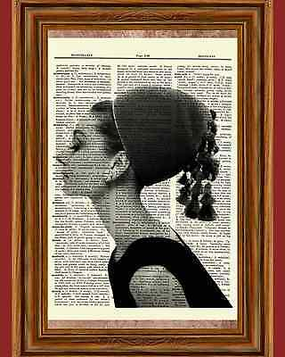 Audrey Hepburn Picture Dictionary Art Print Book Page Mixed Media OOAK Gift