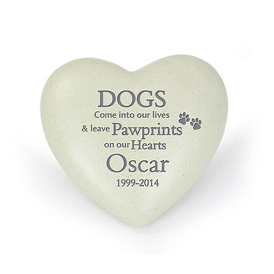 Dog Pawprints Heart - Pet Memorial Stone (Personalised)