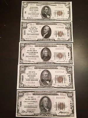 Reproductions 1929 National Bank Note Set $5 $10 $20 $50 $100 Assorted Banks