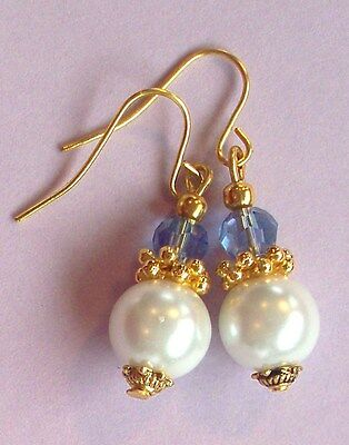 WHITE Glass Pearl SAPPHIRE Blue Crystal DROP earring GP artisan