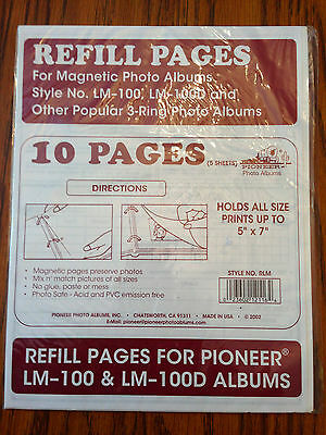 PHOTO ALBUM REFILL PAGES: Pioneer LM-100 Magnetic RLM 1pk, 5 pages/10 sides