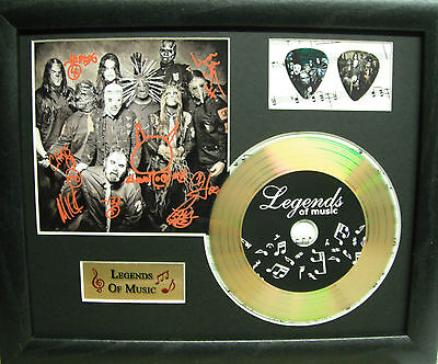 Slipknot (2) Preprinted Autograph, Gold Disc & Plectrum Presentation
