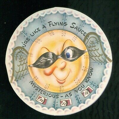 Flying Saucer Birthday Greeting - Masked Flying Saucer w Celluloid Wings!