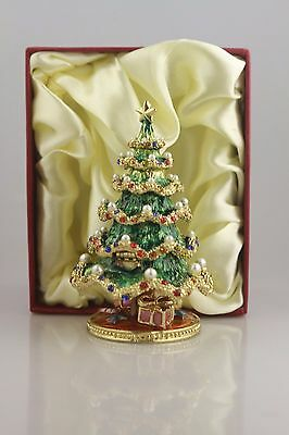 Pearl Christmas Tree    ~  Bejeweled Enamel Trinket Box #3446
