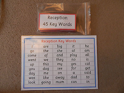 Reception Class - 45 Key Words/High Frequency Words - Flash Cards / Word Mats