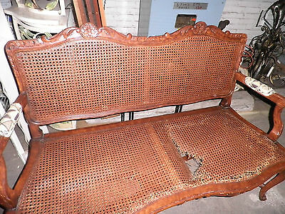 344A ANTIQUE FRENCH HAND CARVED CANE SETTEE, ENTRY BENCH, CANE CARVED BENCH