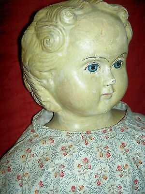 Very large fully labeled 1858 GREINER blond paper mache doll excellent condition