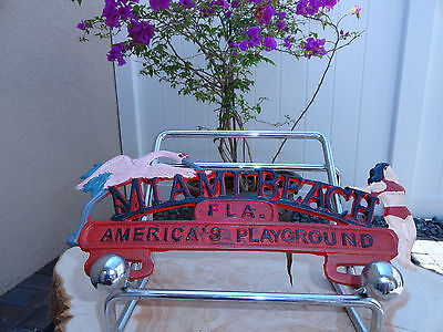 NOS Miami Beach Fla. America's Playground Advertising License Plate Topper Sign