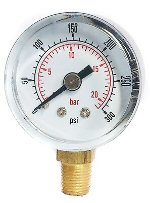 Pressure Gauge 40mm Dial 0/300 PSI & 0/20 Bar 1/8 BSPT BOTTOM and/orHose Tails
