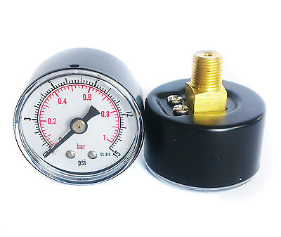 Pressure Gauge 40mm Dial 0/15 PSI & 0/1 Bar 1/8 BSPT Back. and/or Hose Tails