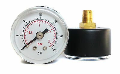 Pressure Gauge 40mm Dial 0/30 PSI & 0/2 Bar 1/8 BSPT Back. Optional Hose Tails