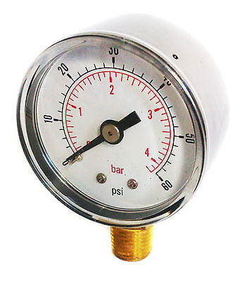 Pressure Gauge 50mm Dial 0/60 PSI & 0/4 Bar 1/4 BSPT A and/or Hose Tails
