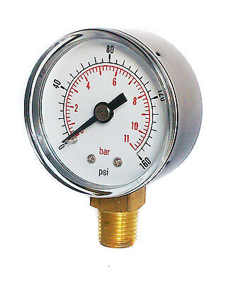 Pressure Gauge 50mm Dial 0/160 PSI & 0/11 Bar 1/4 BSPT Bottom.and/or Hose Tail