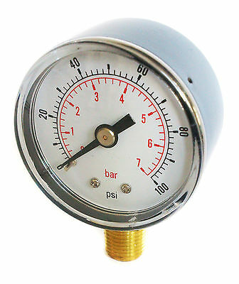 Pressure Gauge 50mm Dial 0/100 PSI & 0/7 Bar 1/4 BSPT BOTTOM and/or Hose Tails