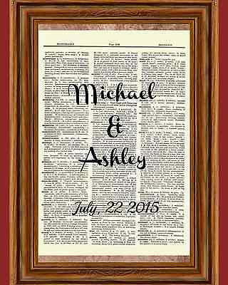 Custom Wedding Names Dictionary Art Print Book Page Picture New Marriage Gift