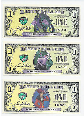 "DISNEY DOLLARS  2013 ISSUE MATCH # SET OF ""d"" ISSUE 3 PCS  CHOICE UNC"