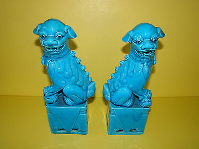 Vintage ASIAN PAIR of BLUE CERAMIC CHINESE FOO DOGS~SIGNED