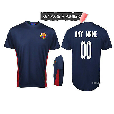Personalised Kids Barcelona Fc Official Football T Shirt Genuine Slim Fit Top
