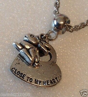 Pet Loss Rabbit Memorial 'Paw Prints on my Heart necklace with charms CN103