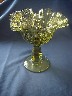 Vintage Fenton Olive Green Thumb Print Ruffled Compote Candy Dish Pedestal Bowl
