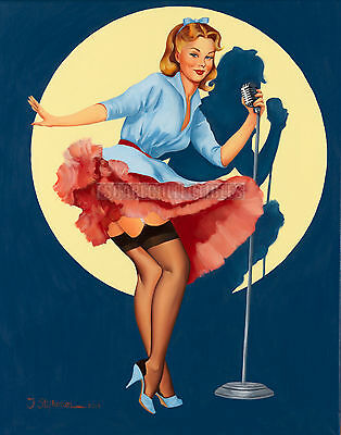 Stephenson < In the Spotlight > Vintage Style Singer Pin Up Girl Art Signd Print