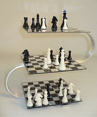 3D CHESS GAME THREE DIMENSIONAL CHESS BOARD MULTI LEVEL STRATEGY LUCITE & STEEL
