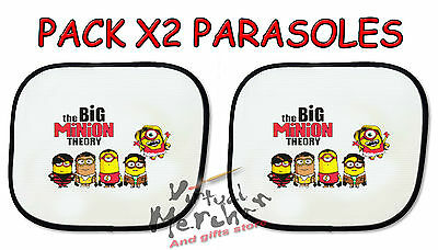 PACK 2 PARASOLES O 1 parasol MINIONS GRU THEORY big bang sunshield coche car