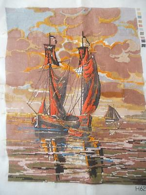 Vintage Part Worked Printed Tapestry Canvas Sailing Ships Boats Frame Cushion