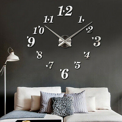 New Large DIY Wall Clock 3D Mirror Surface Sticker Design Home Living Room Decor