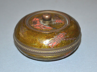 """Amin Copper Dragon Fly Lily Pond Painted Round Trinket Box 2 3/8"""" Diameter"""