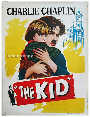 The Kid 1921 original old vintage Charlie Chaplin comedy movie poster from India