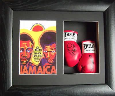 George Foreman Vs Joe Frazier Mini Signed Boxing Gloves Framed