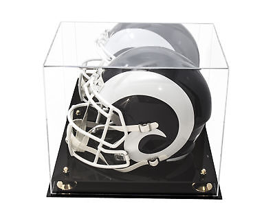 Full Size Football Helmet Acrylic Display Case-Mirror & Gold Risers (A002-GR)